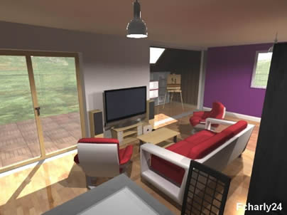 maison interieur dessin 3d. Black Bedroom Furniture Sets. Home Design Ideas