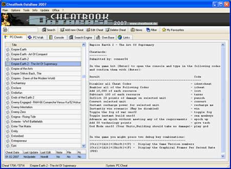 CheatBook Database (infos et téléchargement)